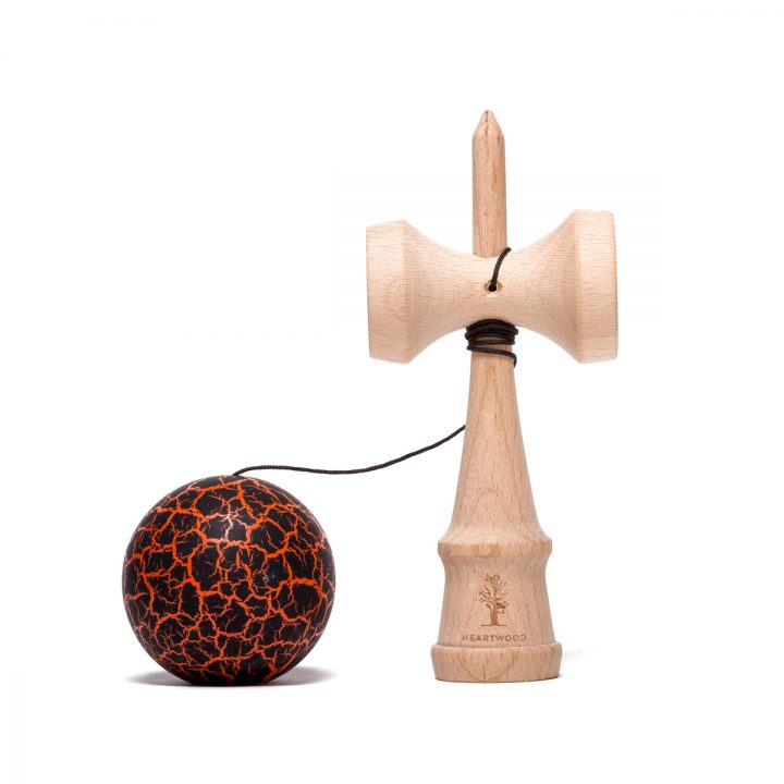 Heartwood Kendama Grunge Volcano Orange side