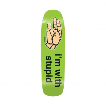 Enjoi I'm With Stupid Skateboard Deck - Green - 9.0""