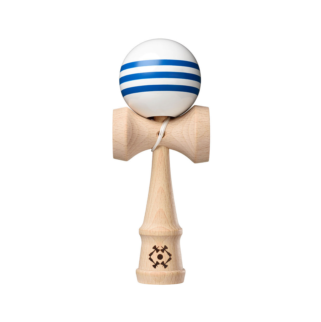 Tribute Kendama - White with 3 Blue Stripes