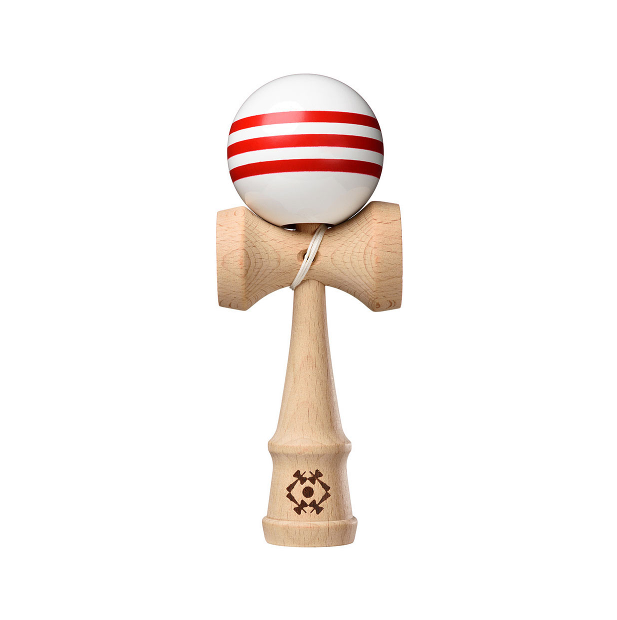 Tribute Kendama - White with 3 Red Stripes
