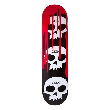 Zero 3-Skull Blood Black Logo Deck 8.125