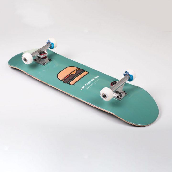 """Heartwood Skateboards Fat Food Nation Burger complete skateboard 8.25"""""""