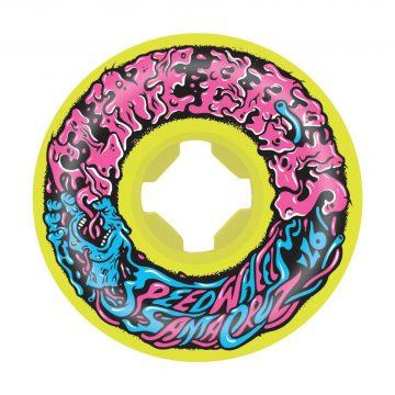 Santa Cruz Slime Balls Vomit Mini II Yellow 54mm 97a skateboard wheel front