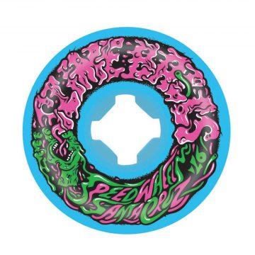 Santa Cruz Slime Balls Vomit Mini II Blue 53mm 97a skateboard wheel front